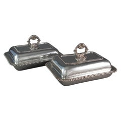 Pair of Georgian Silver Entree or Serving Dishes, London, 1821