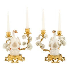 Pair of German 19th Century Louis XVI St. Ormolu and Porcelain Candelabras