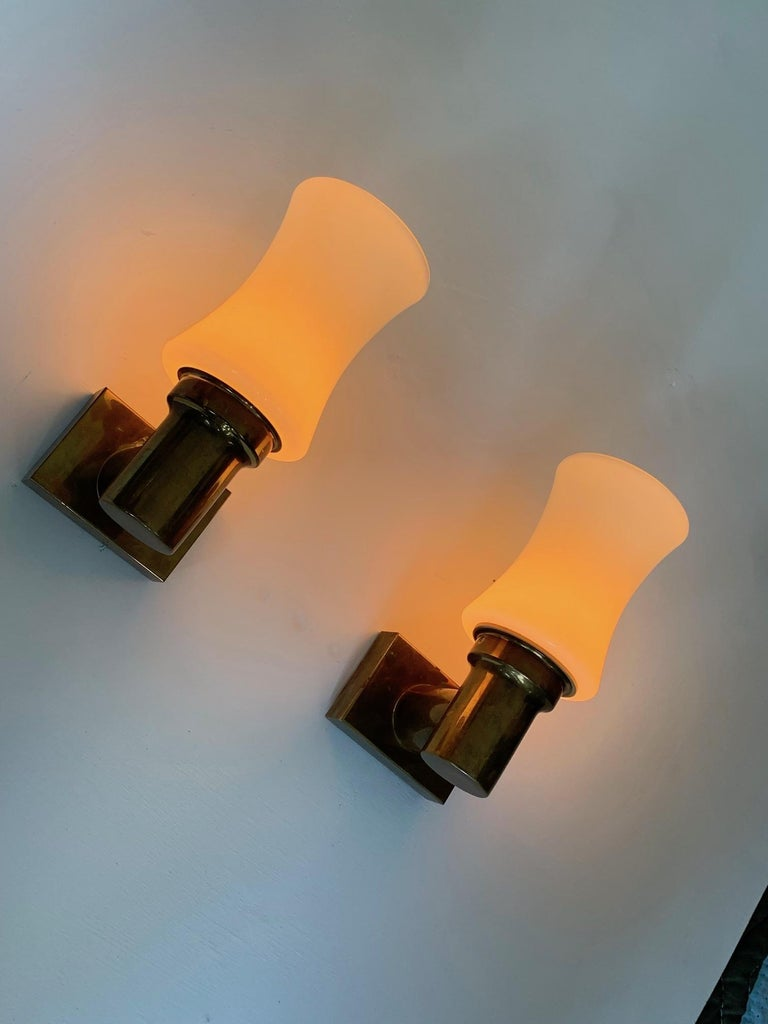 Pair of German Brass Sconces, circa 1950s For Sale 5