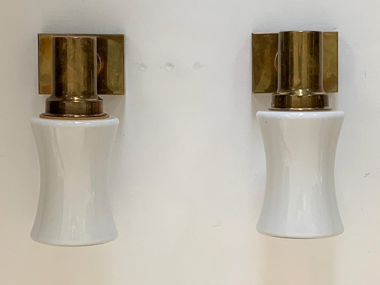 Pair of German Brass Sconces, circa 1950s For Sale 1