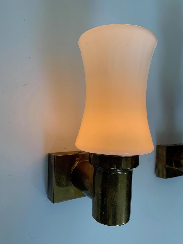 Pair of German Brass Sconces, circa 1950s For Sale 2