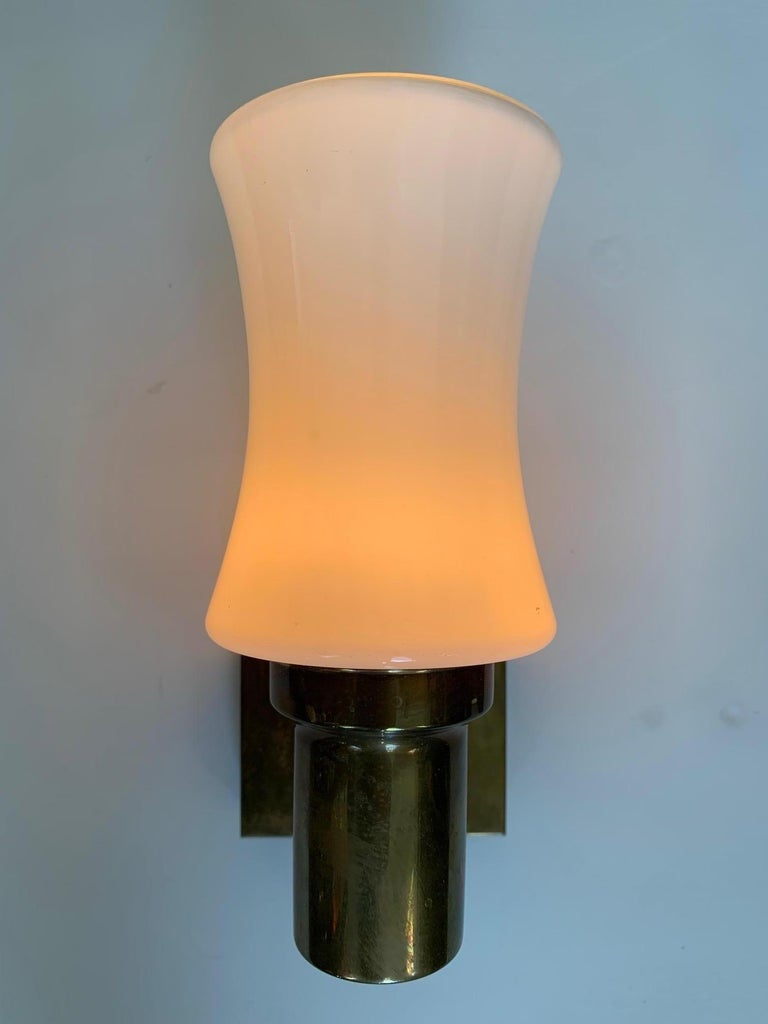 Pair of German Brass Sconces, circa 1950s For Sale 3