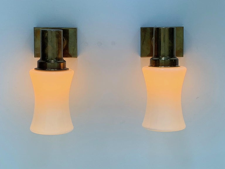 Pair of German Brass Sconces, circa 1950s For Sale 4