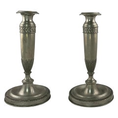 Pair of German Pewter Candlesticks, 19th c