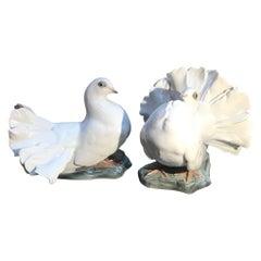 Pair of German Porcelain White Doves, 1930s