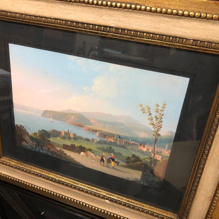 Pair of Gilded Framed Italian Gouaches Depicting Sorrento, circa 1870 For Sale 4