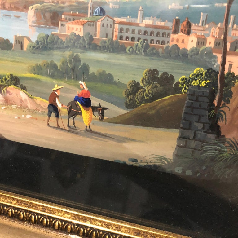 Pair of Gilded Framed Italian Gouaches Depicting Sorrento, circa 1870 For Sale 5
