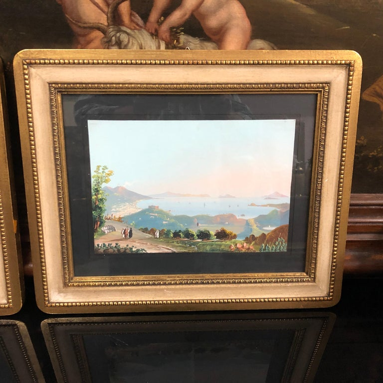 Two late 19th century Italian gouaches, framed in New York, labeled on the back sides.