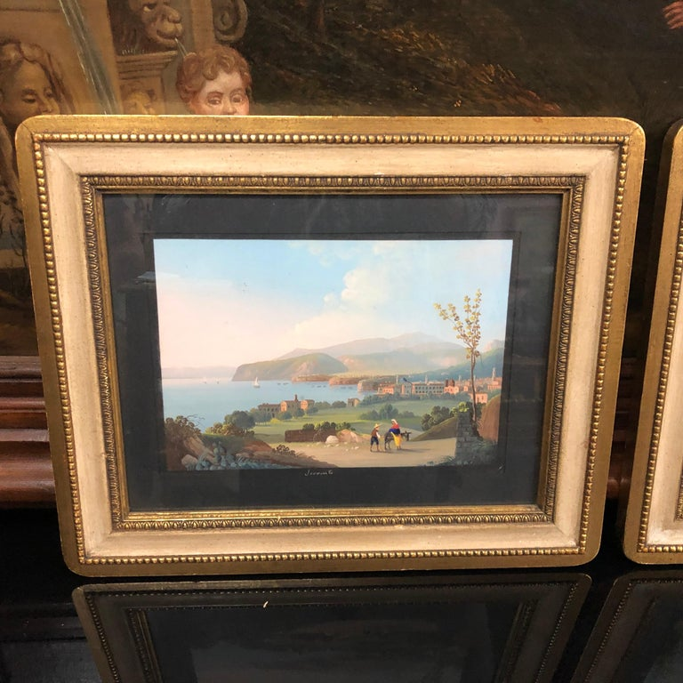 Louis Philippe Pair of Gilded Framed Italian Gouaches Depicting Sorrento, circa 1870 For Sale