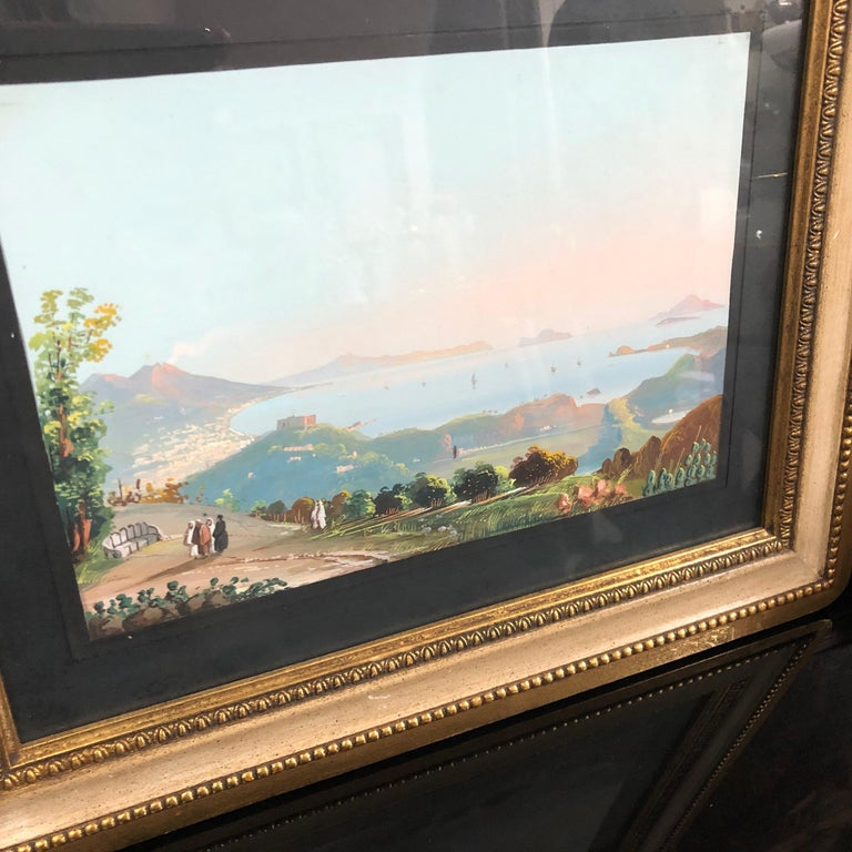 Hand-Painted Pair of Gilded Framed Italian Gouaches Depicting Sorrento, circa 1870 For Sale