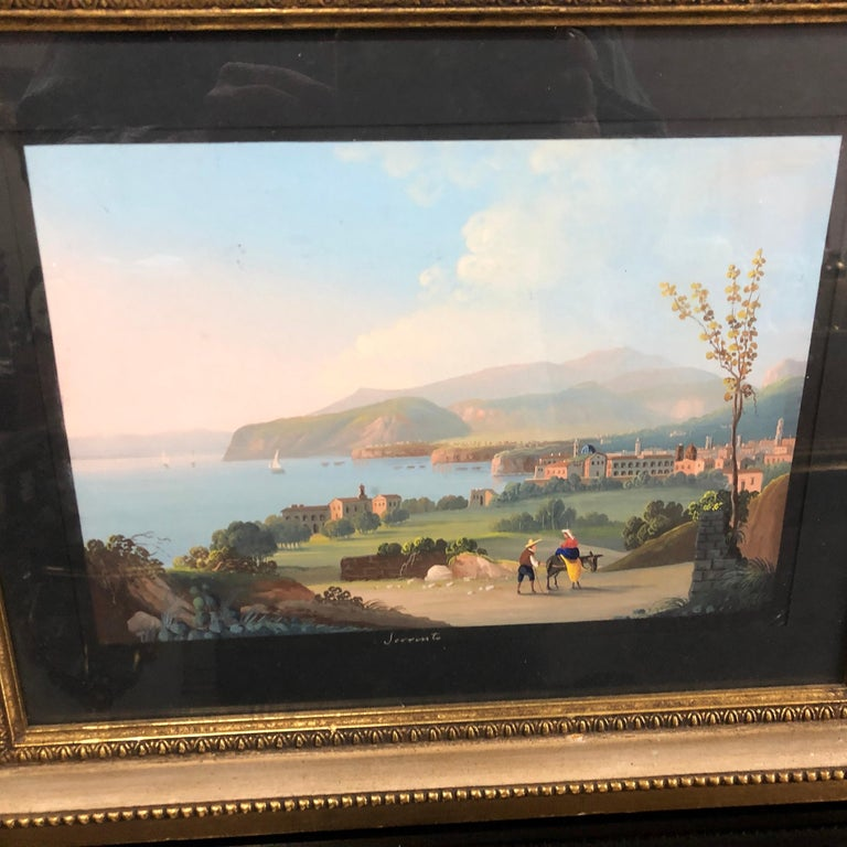 Pair of Gilded Framed Italian Gouaches Depicting Sorrento, circa 1870 In Good Condition For Sale In Aci Castello, IT