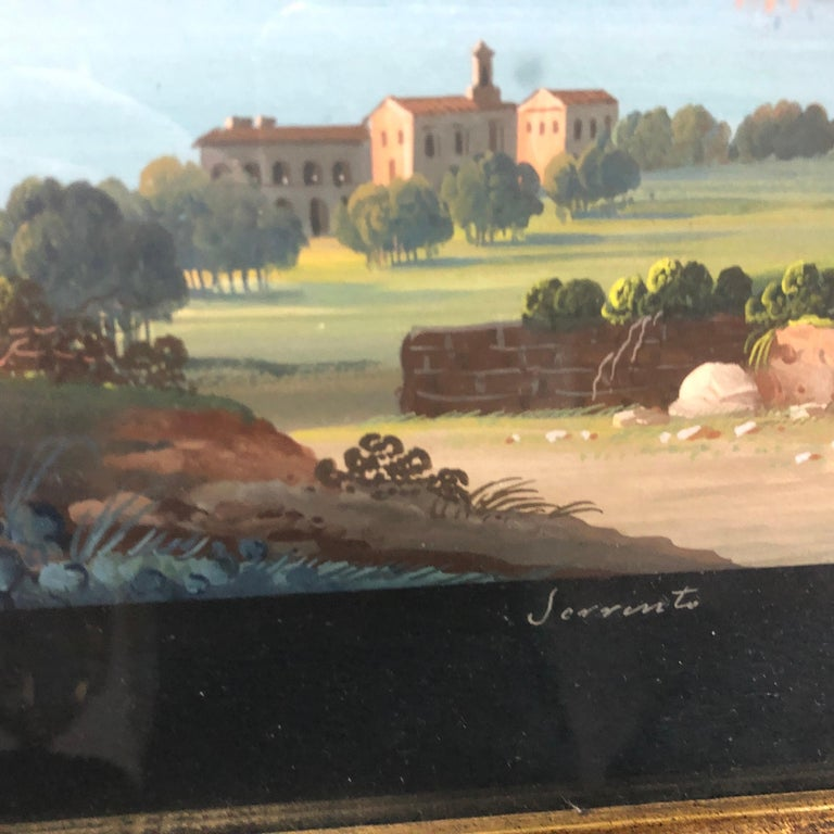 19th Century Pair of Gilded Framed Italian Gouaches Depicting Sorrento, circa 1870 For Sale