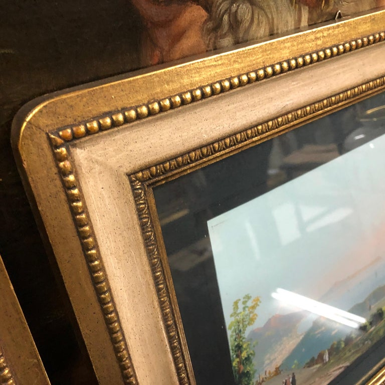 Pair of Gilded Framed Italian Gouaches Depicting Sorrento, circa 1870 For Sale 1