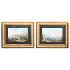 Pair of Gilded Framed Italian Gouaches Depicting Sorrento, circa 1870