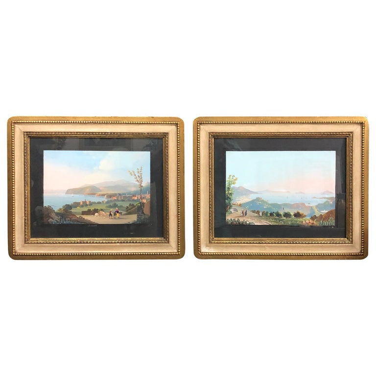 Pair of Gilded Framed Italian Gouaches Depicting Sorrento, circa 1870 For Sale