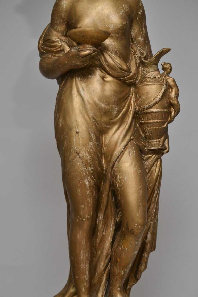 Pair of Gilt Allegorical Plaster Sculptures Representing Spring and Autumn For Sale 4