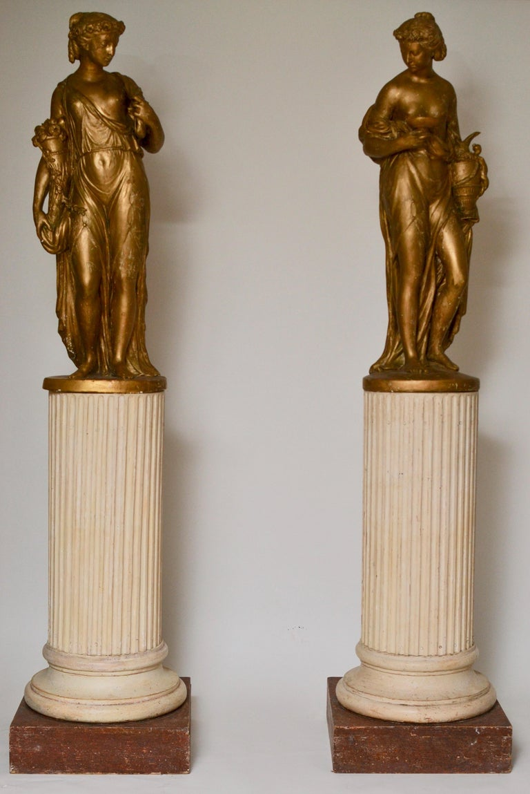 Pair of Gilt Allegorical Plaster Sculptures Representing Spring and Autumn For Sale 6