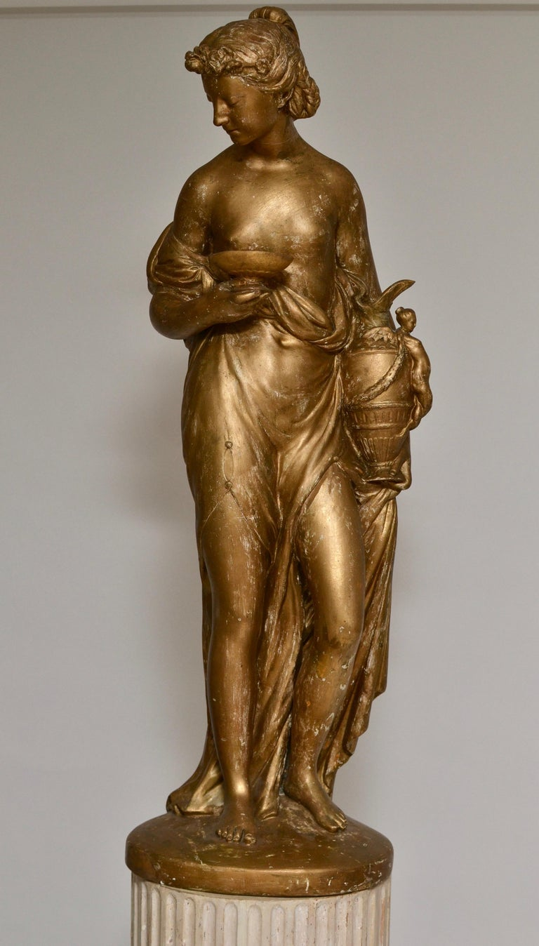Pair of Gilt Allegorical Plaster Sculptures Representing Spring and Autumn In Good Condition For Sale In Stockholm, SE