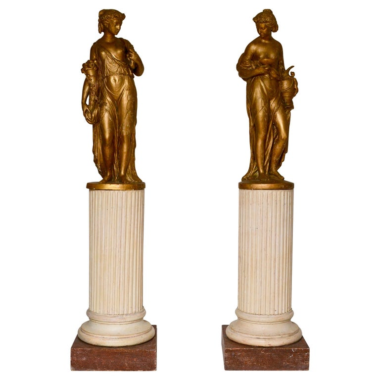 Pair of Gilt Allegorical Plaster Sculptures Representing Spring and Autumn For Sale
