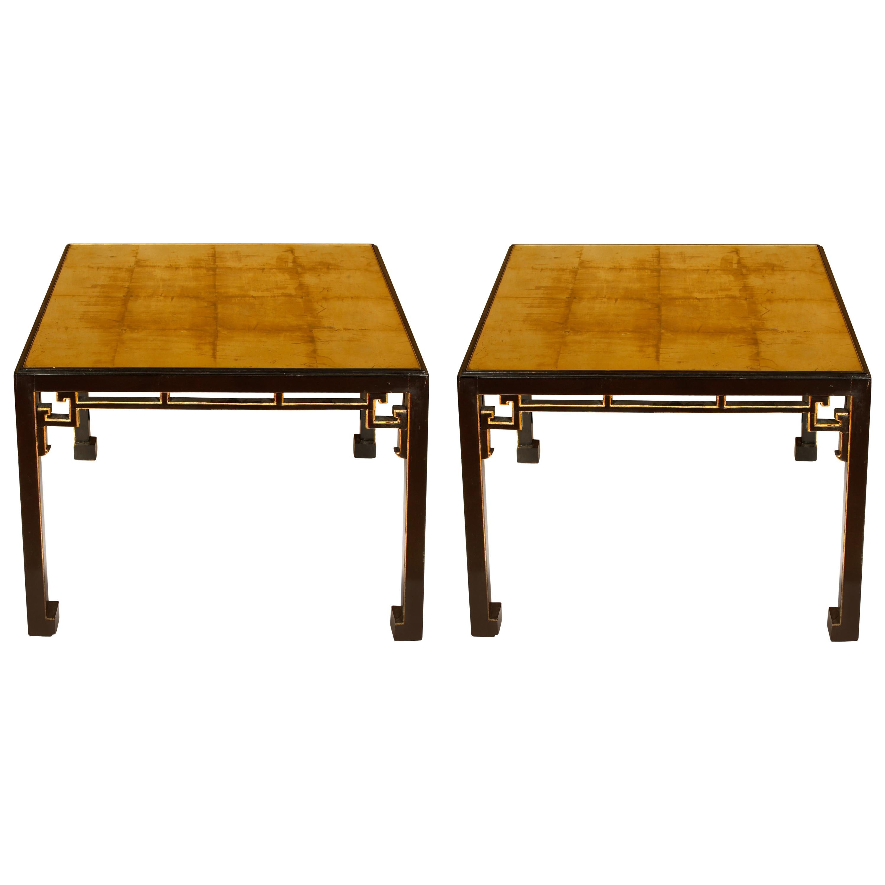 Pair of Gilt and Antiqued Mirror Top Side Tables in the Style of James Mont