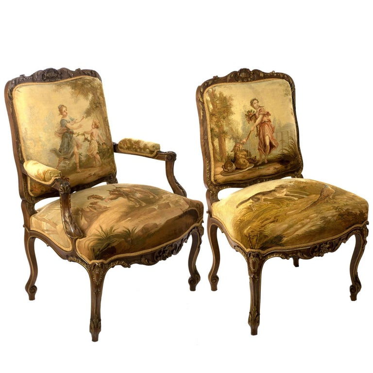 A Pair of Gilt Aubusson Tapestry Mahogany Armchairs