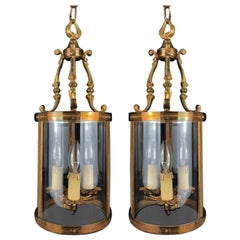 Pair of Gilt-Brass, 3-Light Hall Lanterns, French, Early 20th Century