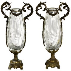Pair of Gilt Bronze and Cut Glass Vases