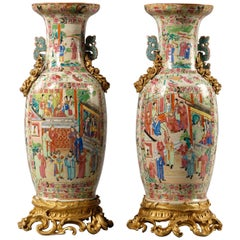 Pair of Gilt Bronze Mounted Famille Rose Porcelain Vases, circa 1870