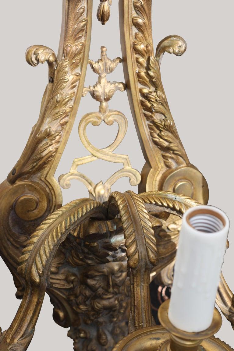 Pair of Gilt-Bronze Sconces, Louis XVI Style, circa 1880 For Sale 1