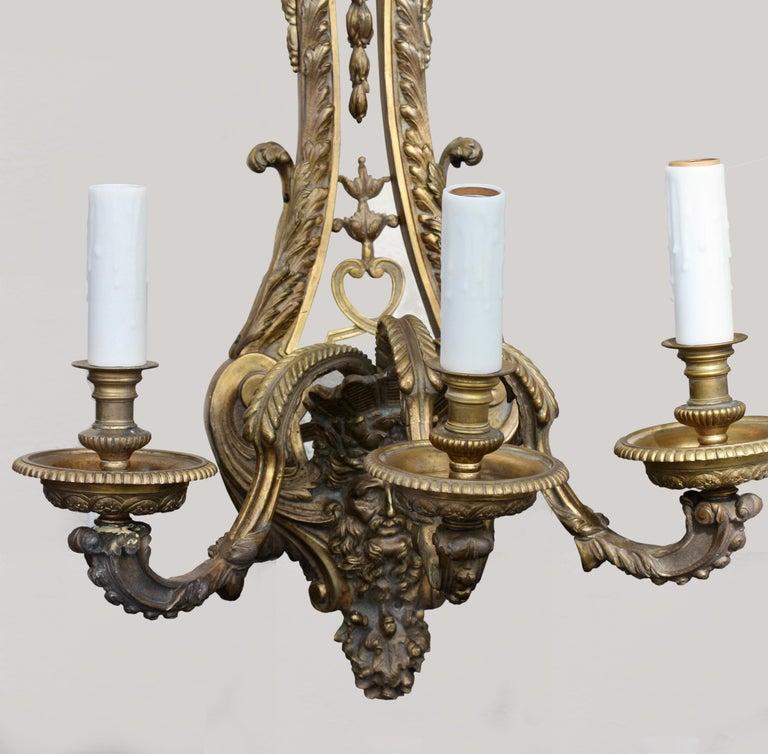 Pair of Gilt-Bronze Sconces, Louis XVI Style, circa 1880 For Sale 2