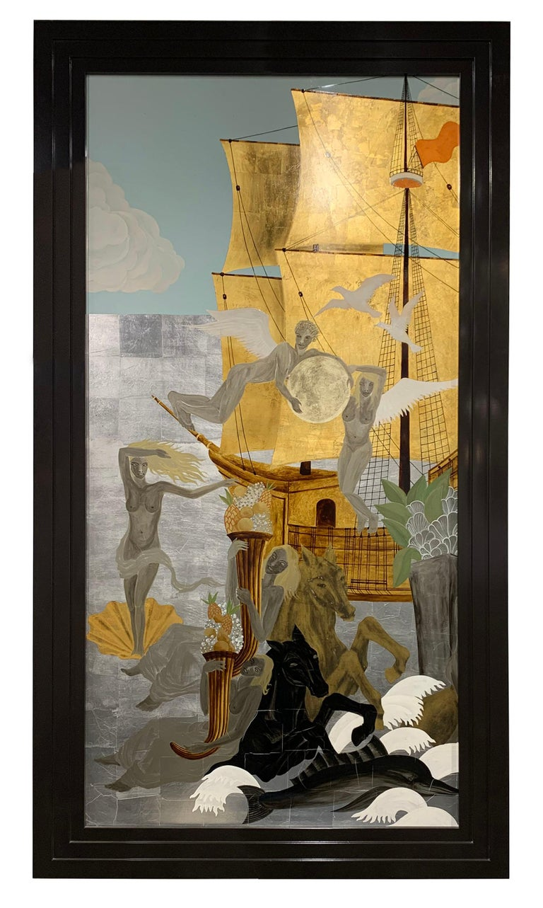 The Diptych in an Art Deco style showing a fantastical scene of classical sailing ships surrounded by a joyful group of nymphs, dolphins and horses. The lacquer and hand gilded background as a base for the painted and gilded scene described. Size