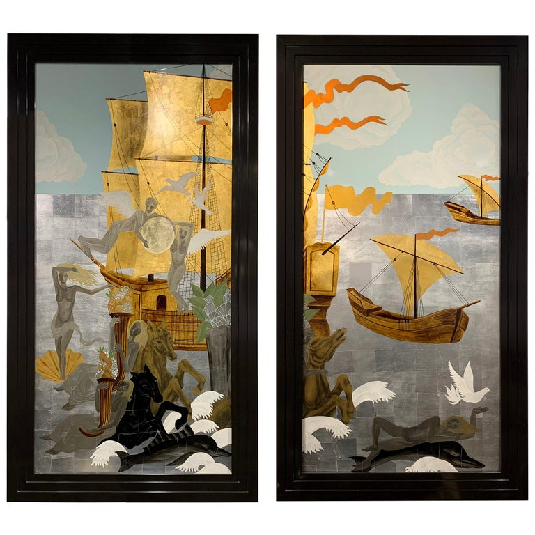 Pair of Gilt French Panels For Sale
