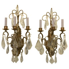 Pair of Gilt Metal and Large Crystal Sconces