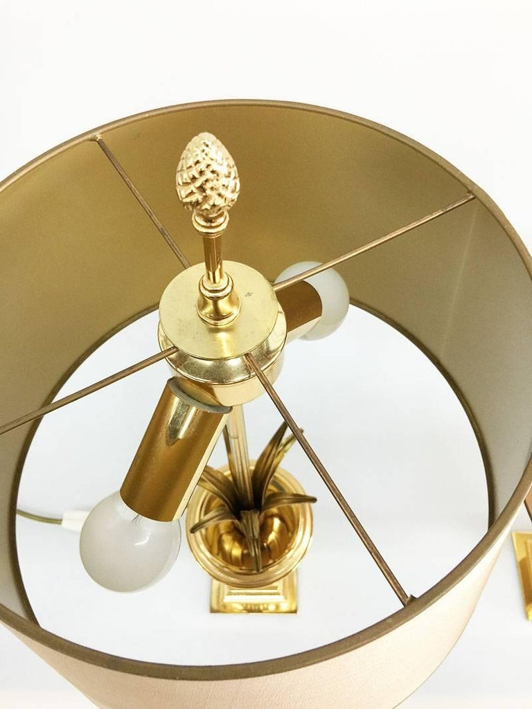 20th Century Pair of Gilt Metal Italian Side Table Lamps by Maison Charles, 1970s For Sale