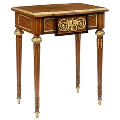 Pair of Gilt Metal-Mounted Kingwood and Marquetry End Tables of Louis XVI Style