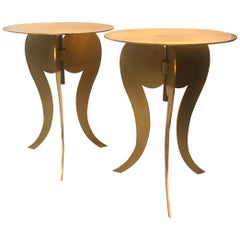 Pair of Gilt Steel Adjustable Round Pedestal Tables