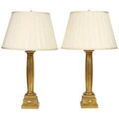 Pair of Giltwood Column Form Lamps