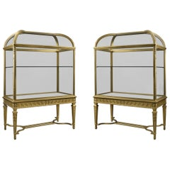Pair of Giltwood Domed Top Display Cabinets, circa 1900