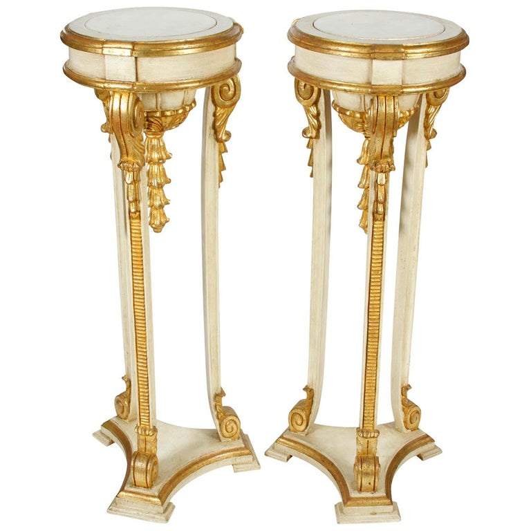 Pair of Giltwood Jansen Style Pedestals For Sale