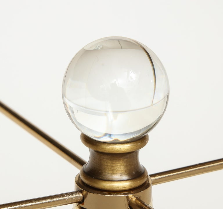American Pair of Glass and Brass Lamps For Sale
