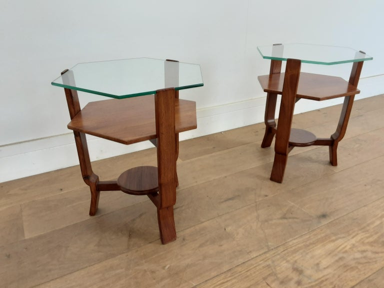 An unusual little pair of side tables, very pretty glass toped hexagonal walnut tables.
