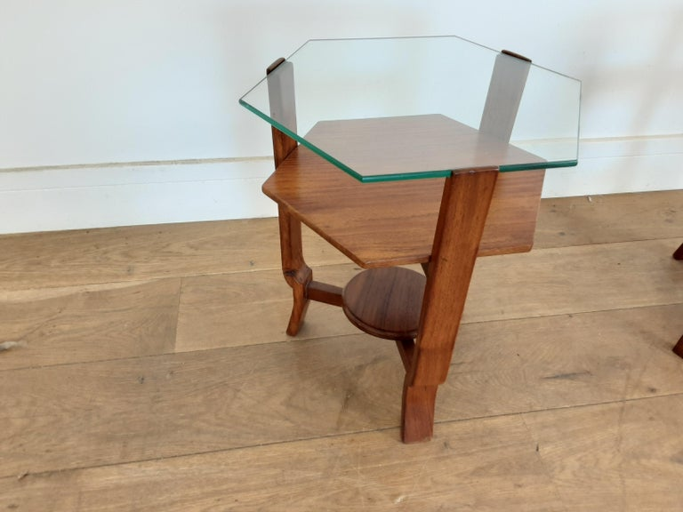 Art Deco Pair of Glass Toped Walnut Side Tables British, circa 1930 For Sale