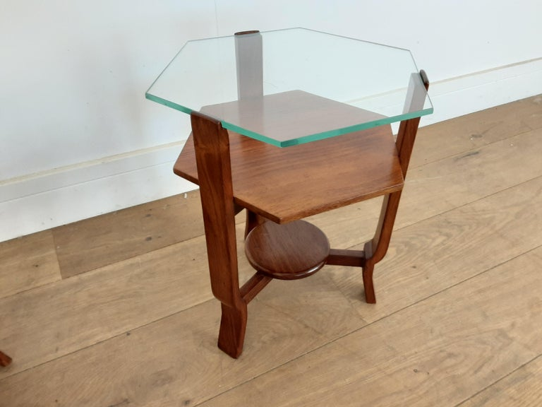 Pair of Glass Toped Walnut Side Tables British, circa 1930 In Good Condition For Sale In London, GB