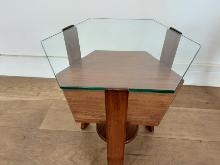 20th Century Pair of Glass Toped Walnut Side Tables British, circa 1930 For Sale