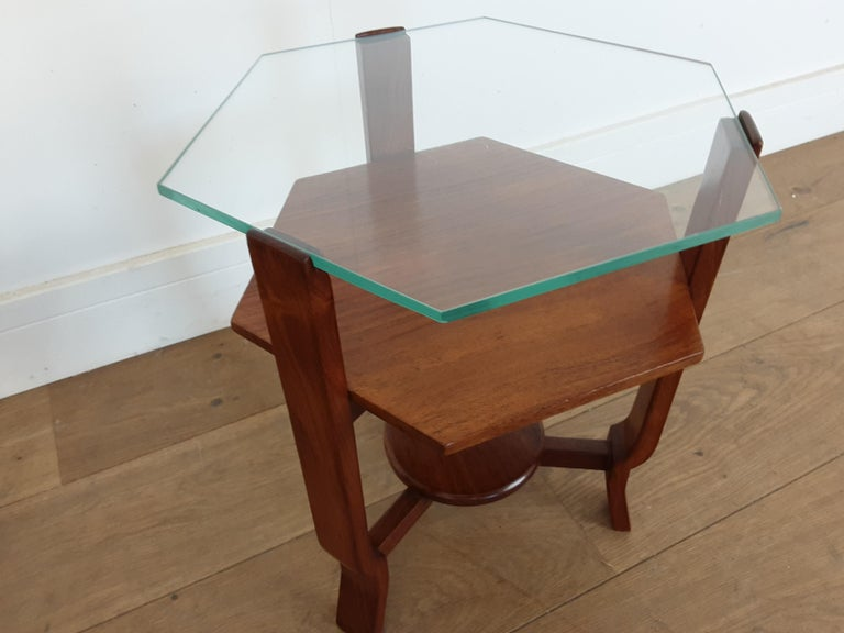 Pair of Glass Toped Walnut Side Tables British, circa 1930 For Sale 1