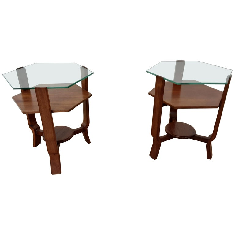 Pair of Glass Toped Walnut Side Tables British, circa 1930 For Sale