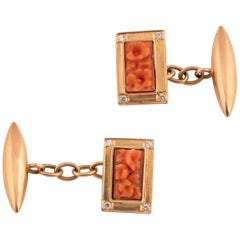 Pair of Gold and Coral Cufflinks