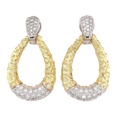 Pair of Gold and Diamond Door Knocker Earrings