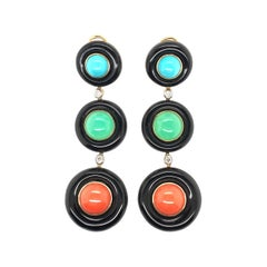 Pair of Gold, Black Onyx, Turquoise, Chrysoprase, Coral and Diamond Earrings
