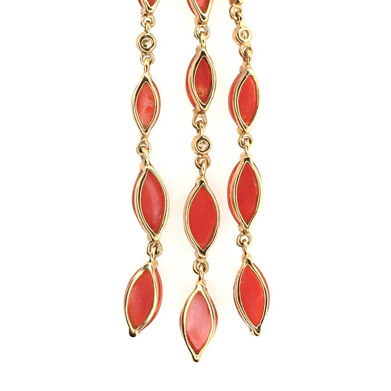 Pair of Gold, Coral, Black Onyx and Diamond Dangling Earrings In New Condition For Sale In New York, NY